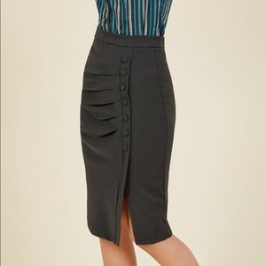 Modcloth Charcoal Gray Side Button Pencil Skirt